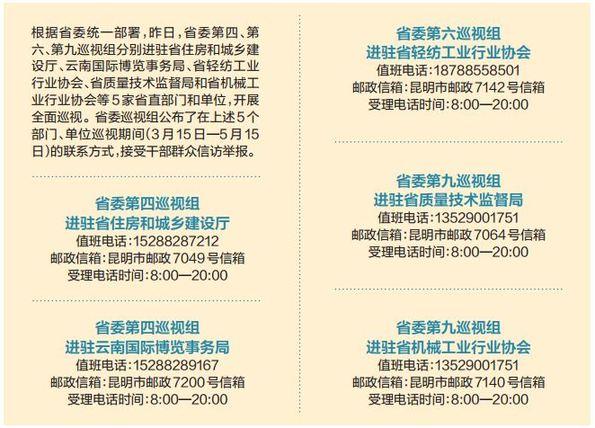 云南省委巡视组进驻5家省直部门和单位巡视