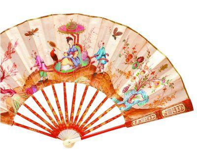 彩绘羊皮纸面折扇(正面).由格林威治扇子博物馆收藏