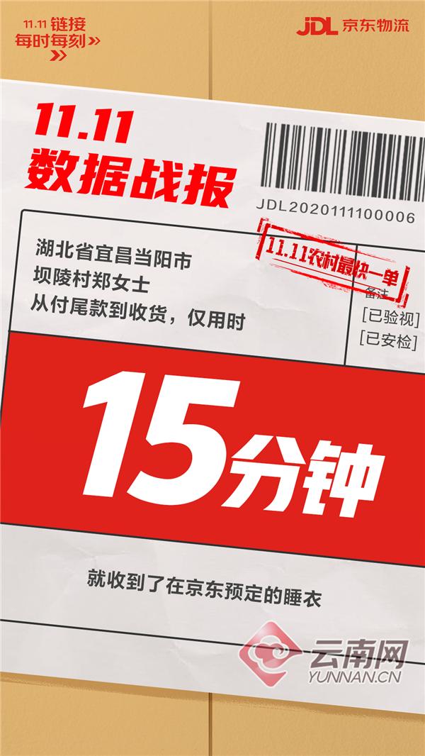 下单15分钟送到村 京东11.11全国83%的乡镇实现24小时达